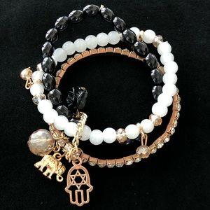3 Stretch Bracelet Set Charms Star Hamsa Elephant